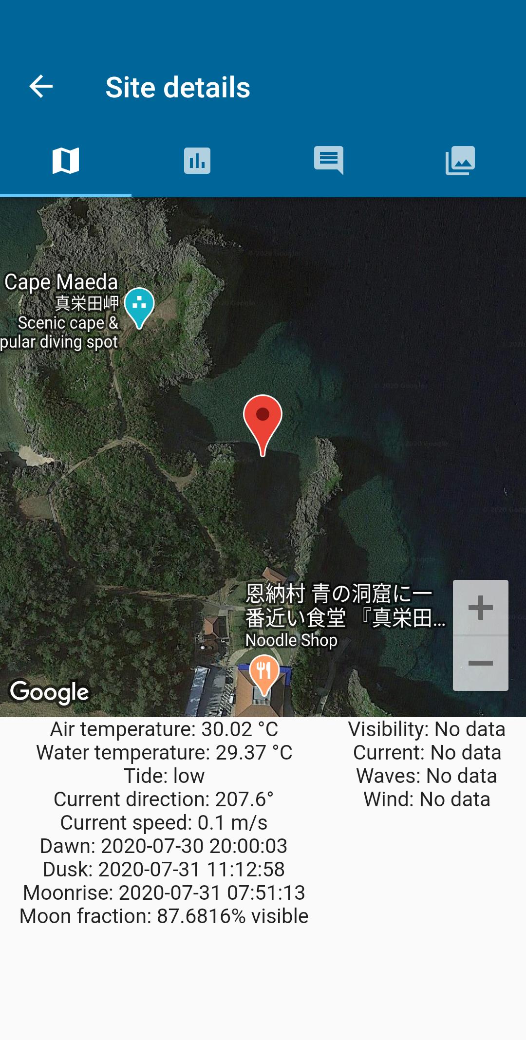 温度、風、電流、および天文倍などのサイトの詳細、